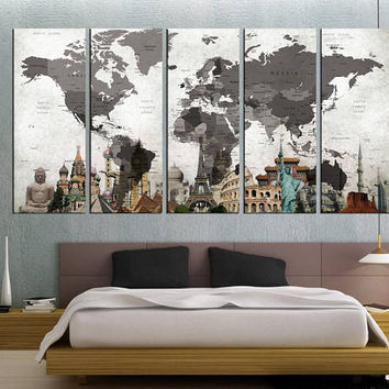 world map wall art Push pin, large world map canvas print, travel map print,, large size 5 panel, map poster home decor gift  Qn52