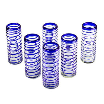 NOVICA Artisan Crafted Clear Blue Highball Glasses, 14 oz 'Cobalt Swirl' (Set of 6)