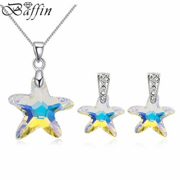 100% Crystals From Swarovski Starfish Jewelry Sets For Bridal Pendant Necklace Piercing Earrings Women Party Accessories