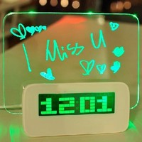 Bokit 5 LED Message Board With Highlighter Digital Alarm Clock With 4 Port USB Hub