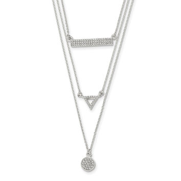 Sterling Silver Polished CZ Circle Triangle and Bar 16in Necklace QG4427