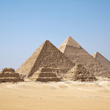 The Pyramids at Gizah, Cairo, Egypt  Photograph Print -Photo  Print Reproduction
