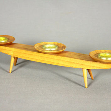 Vintage Mid Century Modern Candle Holder Candle Stick Pinned Legs Wood Wooden 50s 60s