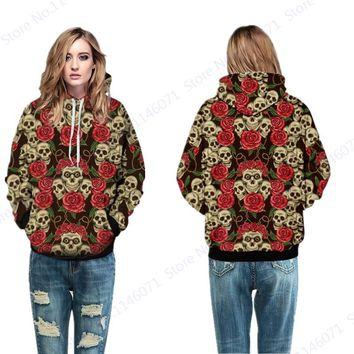 Funny Red Rose Skull Women Tracksuits Sweatshirt Hoody Vintage Long Sleeves Skateboard Hoodies Autumn Streetwear Jacket Pullover