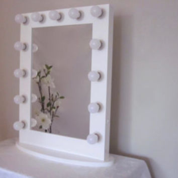 White Makeup mirror with lights Hollywood lighted Vanity mirror Wood Mirror Bathroom Mirror Mirror with lights Vanity mirror with lights