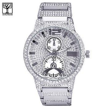 Jewelry Kay style Men's Bling Silver Plated Iced Out Fashion Metal Heavy Band Watch WM 0936 S