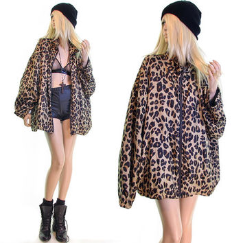 cool cat silky bomber jacket leopard jacket windbreaker jacket vintage 80s 90s jacket urban hip hop grunge jacket boho oversized 2xl plus