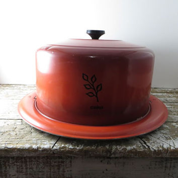 Round Cake Plate with Cover Pie Carrier Pie Plate Vintage Cake Taker Autumn Orange