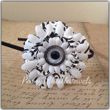 Big Flower Headband, Black And White Headband, Bridal Headband, Shabby Chic Headband, Gift For Her