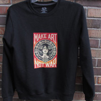 Unisex Shepard Fairey OBEY 'Make Art Not War' Piece on Soft Black Sweatshirt