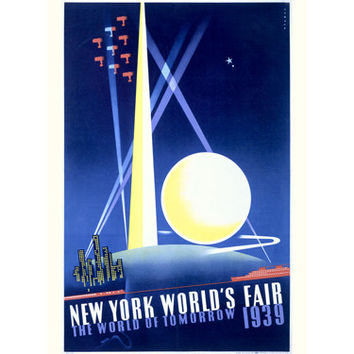 1939 New York Tomorrow Worlds Fair Wood Sign