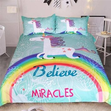 Rainbow Unicorn Bedding Set Believe Miracles Cartoon Single Queen King Size Bed Duvet Cover Animal for Kids Girls 3pcs