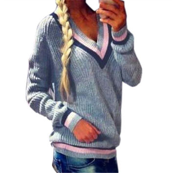 Casual Striped Pattern V-neck Woolen Sweater