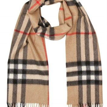 New Burberry Camel Giant Check Cashmere Scarf