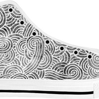 Grey and white swirls doodles White High Tops