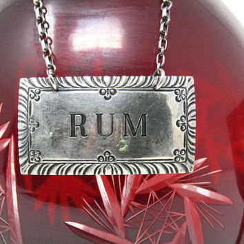 Sterling Silver Stieff Rum Decanter Tag - Vintage Barware Metal Chain Rum Tags - Retro Sterling Silver Liquor Labels Bottle - Decanter Charm