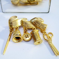 Gold Sewing Seamstress Brooch Pin Tape Measure Thimble Needle