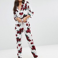 ASOS Valentines Romantic Rose Traditional Pyjama Set at asos.com