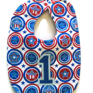 Patriotic bibs - 1st birthday bib - 4th of July birthday bib - superhero birthday bib - Stars and Stripes bib - red white and blue baby bib