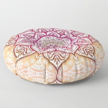 Boho Fruit Salad Floor Pillow by inspiredimages