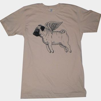 Flying Pug Mens TShirt S M L XL in 9 Colors by MisNopalesArt