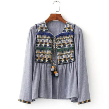 Autumn Stylish Geometric Embroidery Tassels Patchwork V-neck Jacket [8542237639]