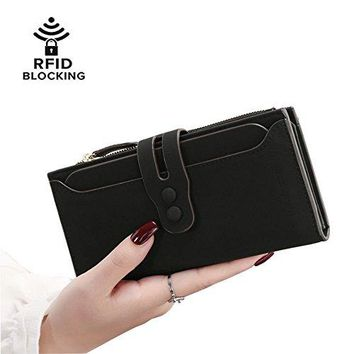 Hilinker Women RFID Blocking Soft Matte Leather Long Clutch Wallet Vintage Hasp Buckle Zipper Coin Pouch Travel Purse with Detachable Card Sleeve