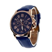 Men's Roman Numeral Faux Leather Quartz Watch