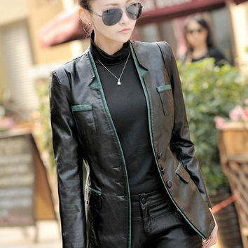 NEW Middle-aged Women Fall And Winter Clothes Slim Leather Jacket PU Leather Jackets Fashion women's Washing PU Leather Coat