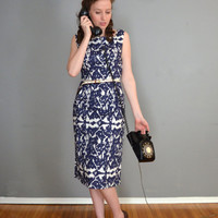 SALE. Navy Blue Pencil Dress. Cream. Ikat. Large. 1952 Vintage Reproduction. One of a Kind. Ready to Ship.