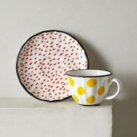 Dot Pop Cup & Saucer by Anthropologie in Yellow Size: Cup & Saucer House & Home