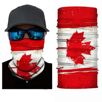 Canada Flag Printed Headband Bandana Scarf Multifunctional Seamless Tube Face Mask Men Women Sport Accessories