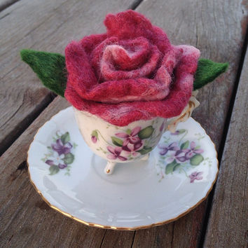 Felted Rose with Vintage Teacup and Saucer, Fairy Garden, Spring Garden Party, Felt Flower: HANDMADE FIBER ART