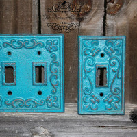 SET Cast Iron switch plates // light switch covers // iturquoise switch plate // metal switch plate // custom switch plate