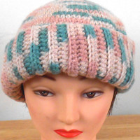 """Crochet Hat - Mauve, Green, Beige Hat Handmade 19"""" with Button Top - Autumn Hat - Winter Hat - Fashion Hat - Free US Shipping"""