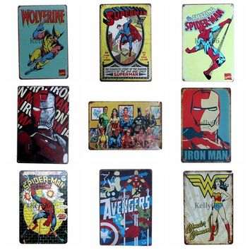 [ Kelly66 ] Super man Batman Hero Vintage Metal Sign Tin Poster Home Decor Bar Wall Art Painting 20*30 CM Size DZ5