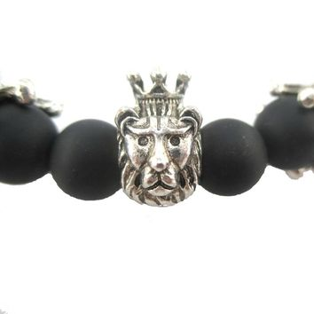 Lion King of The Jungle Stretchy Black Beaded Bracelet in Silver | Animal Jewelry