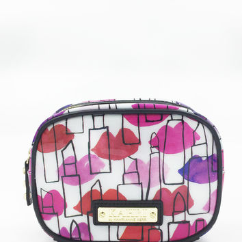 Lips and Lipstick Outlines Small Cosmetic Bag