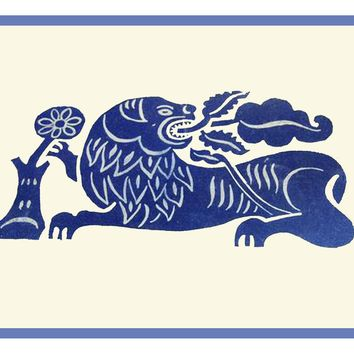 Russian Folk Art Animal Blue Lion with Flower by Issachar Ber Ryback's Counted Cross Stitch or Counted Needlepoint Pattern