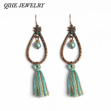 QIHE JEWELRY Teal Tassel Long Blue Dangle Drop Earrings Tibetan Ethnic Jewelry Hippie Style Boho Chic