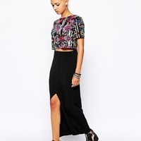 Glamorous Jersey Maxi Skirt with Wrap Skirt