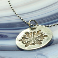 Snowflake Necklace, Striped Sterling Silver Chain, Stamped Pendant