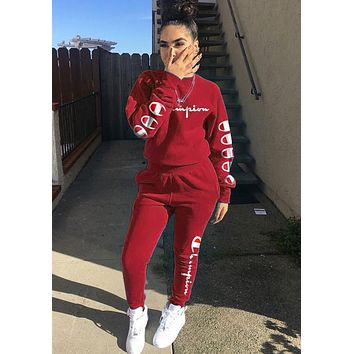 Champion Classic Popular Women Print Long Sleeve Top Pants Trousers Set Two-Piece Red