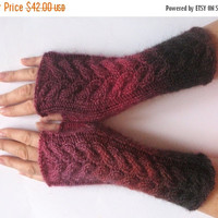 SALE Fingerless Gloves Red Beet Purple Dark Brown wrist warmers