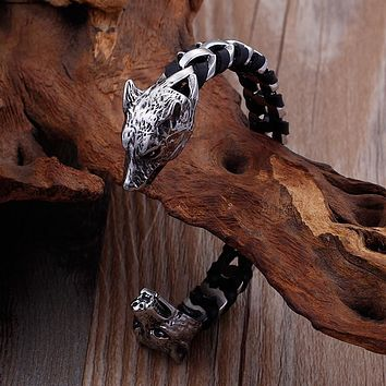 Leather Woven Stainless Steel Power Bangle
