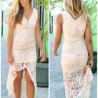 Beatrix High Slit Almond Scalloped Lace Maxi Dress