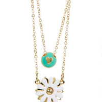 Daisy/Heart Charm Layer Neck