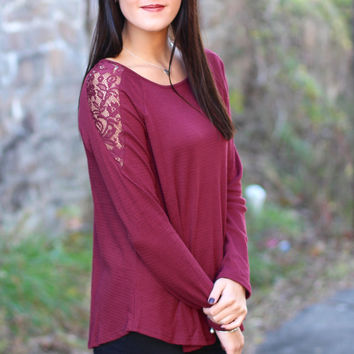 Thermal Laced Back Top {Wine}