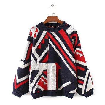 Womens Jumpers New Autumn Geometric Printed Knitted Sweater Loose O Neck Lantern Sleeve Pullovers