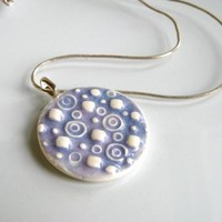 Handmade Porcelain Pendant in Lavender Circles and Dots by DovecoteDesign on Zibbet